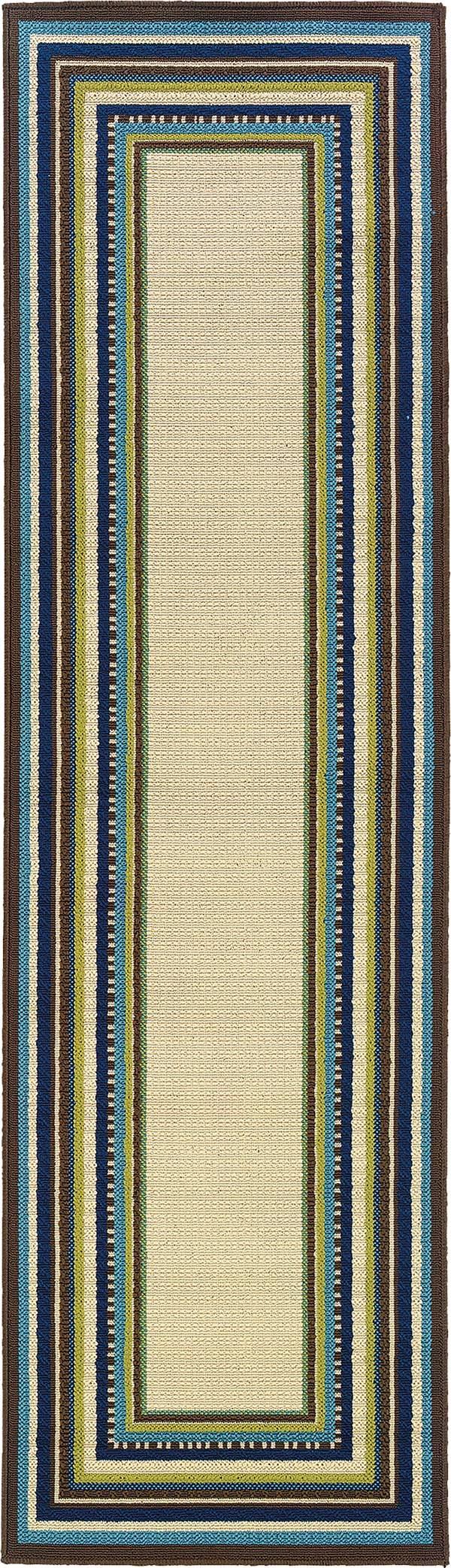 Ivory, Blue Bordered Area Rug