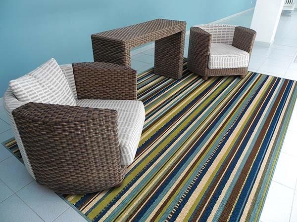 Blue, Brown Outdoor / Indoor Area Rug