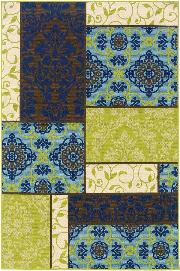 Brown, Blue Damask Area Rug