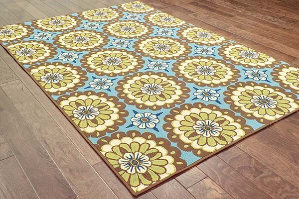 Blue, Brown Transitional Area Rug