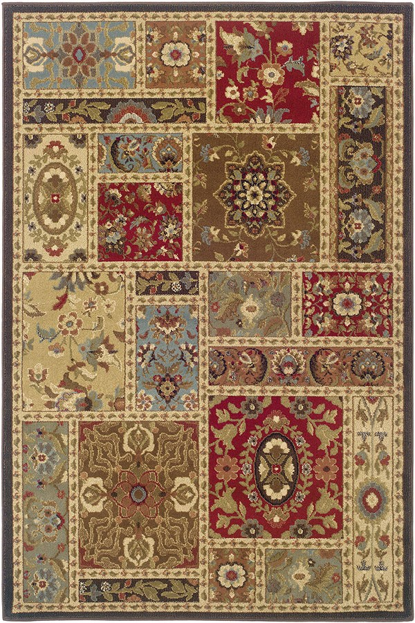Beige, Brown Transitional Area Rug