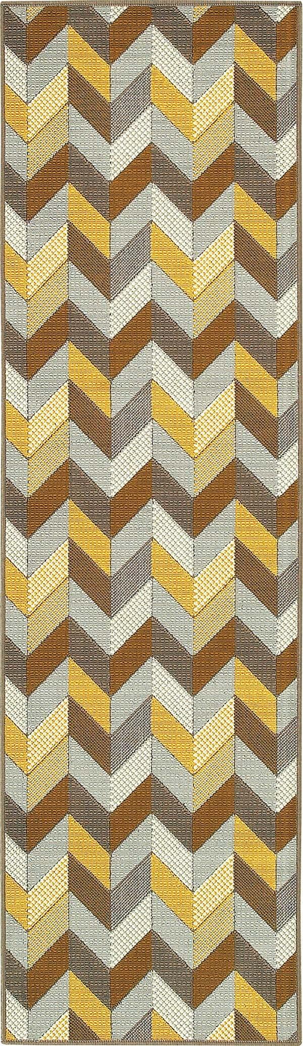 Grey, Blue, Gold (X) Contemporary / Modern Area Rug