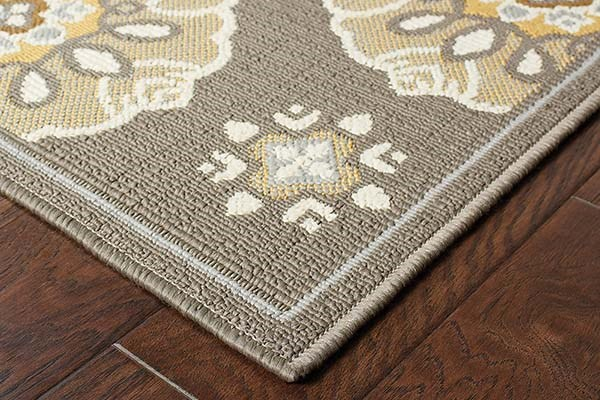 Grey, Gold (N) Moroccan Area Rug