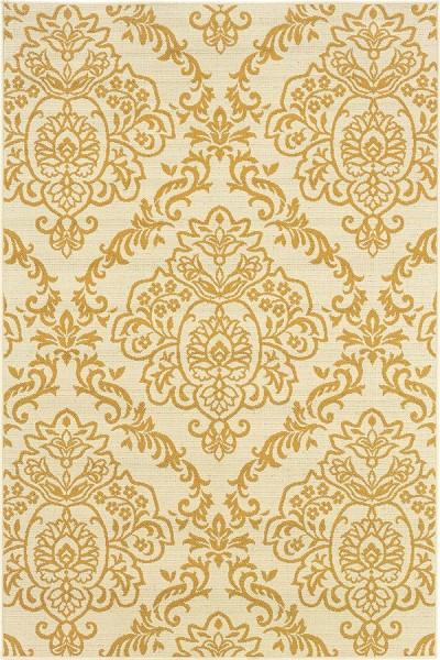 Ivory, Gold (J) Damask Area Rug