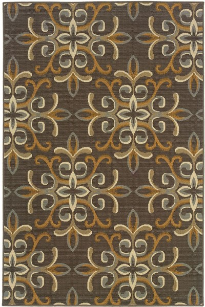 Grey, Gold (H) Contemporary / Modern Area Rug