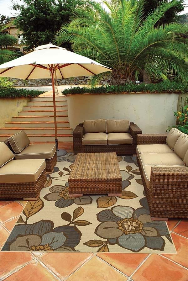 Ivory, Grey (M) Outdoor / Indoor Area Rug