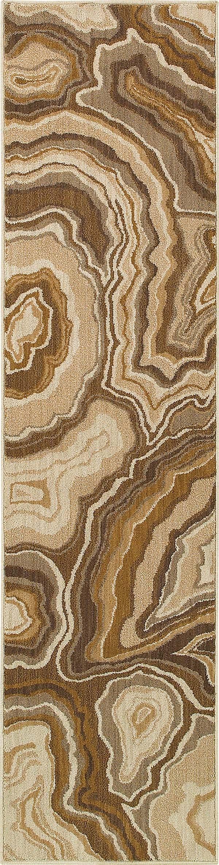 Gold, Grey (D) Contemporary / Modern Area Rug