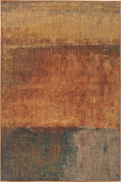 Orange, Gold, Green (B) Contemporary / Modern Area Rug