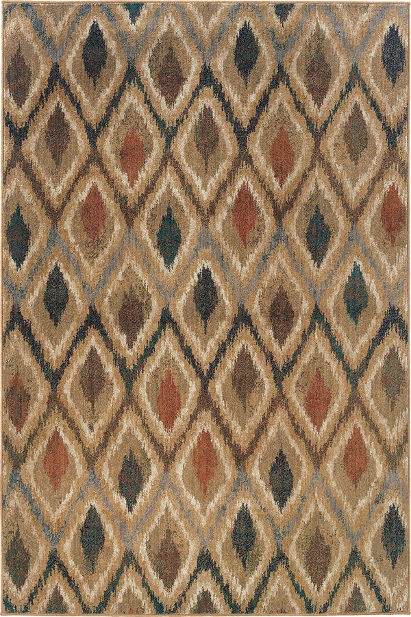Gold, Beige (A) Moroccan Area Rug