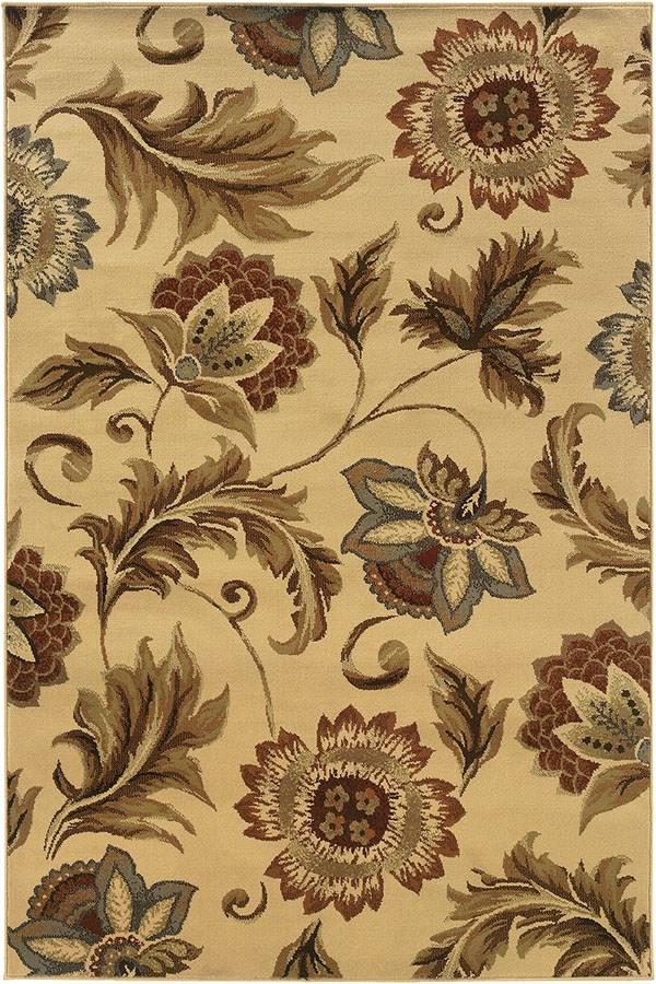 Beige, Gold (W) Floral / Botanical Area Rug