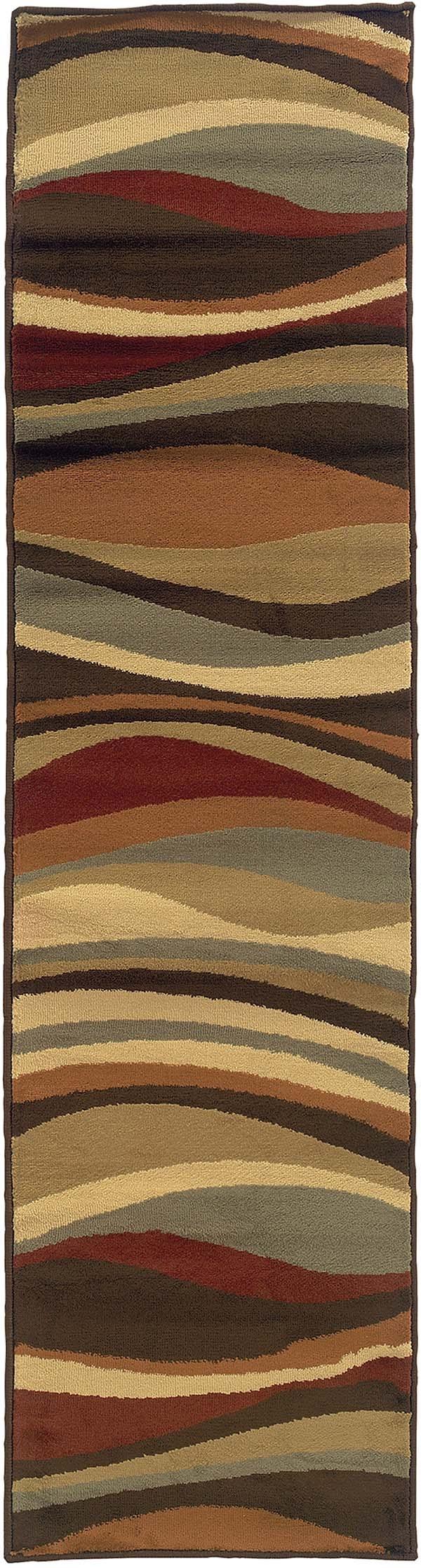 Brown, Green Contemporary / Modern Area Rug