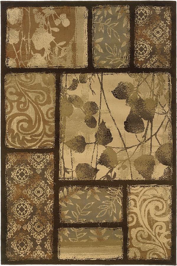 Brown, Tan Floral / Botanical Area Rug
