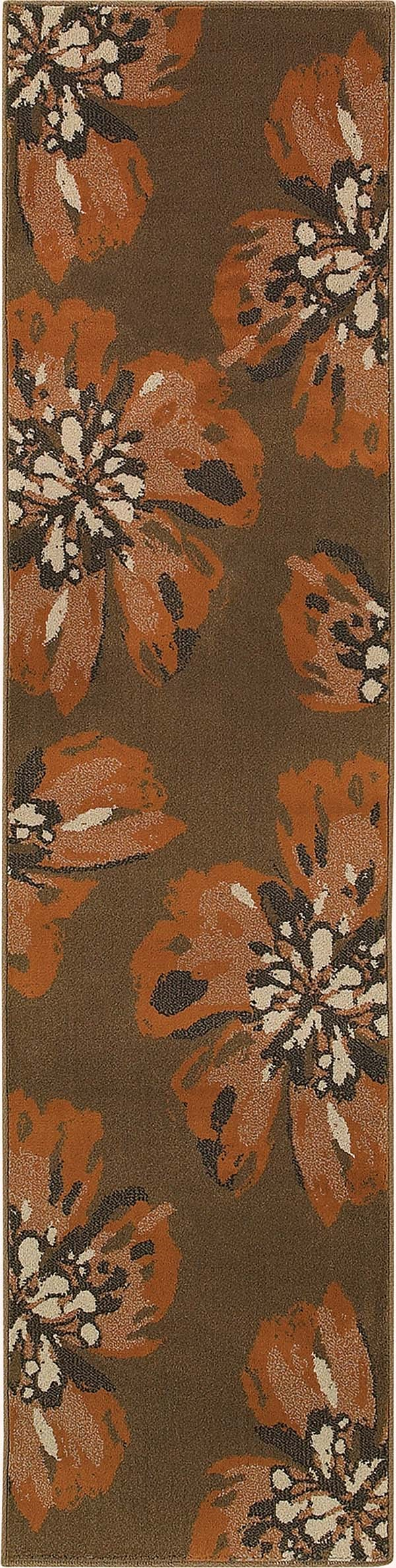 Brown, Orange Floral / Botanical Area Rug