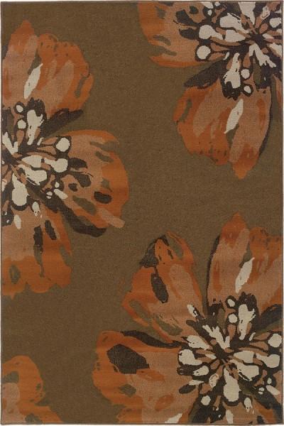 Brown, Orange Floral / Botanical Area Rug