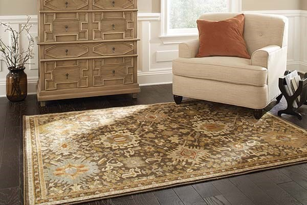 Brown, Green, Gold Traditional / Oriental Area Rug