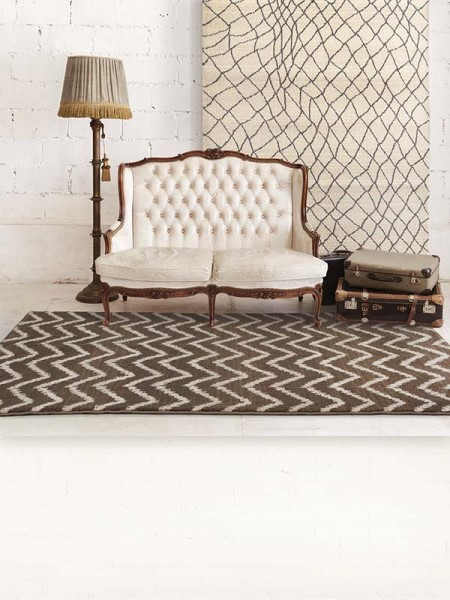 Brown, Ivory (D) Chevron Area Rug