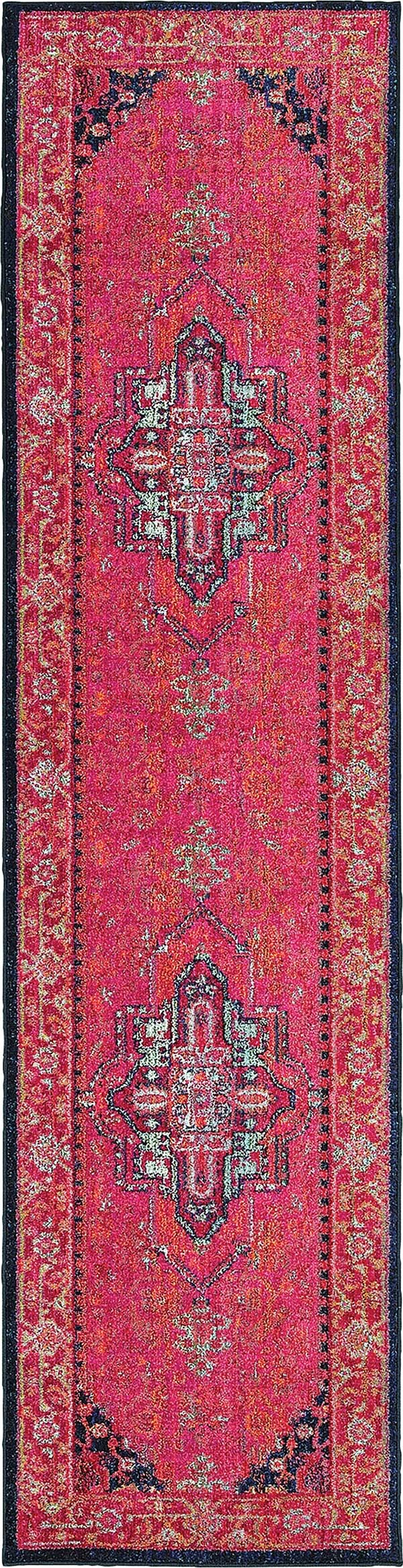 Pink, Navy (S) Traditional / Oriental Area Rug