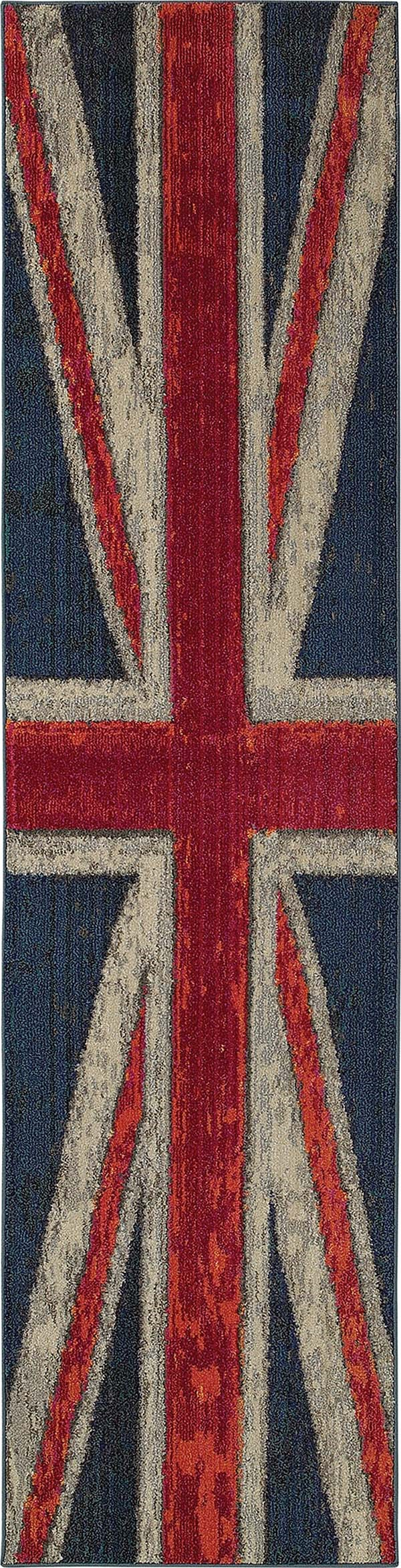 Navy, Pink (R) Contemporary / Modern Area Rug