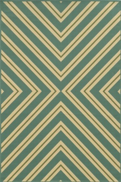 Blue, Green (A) Contemporary / Modern Area Rug