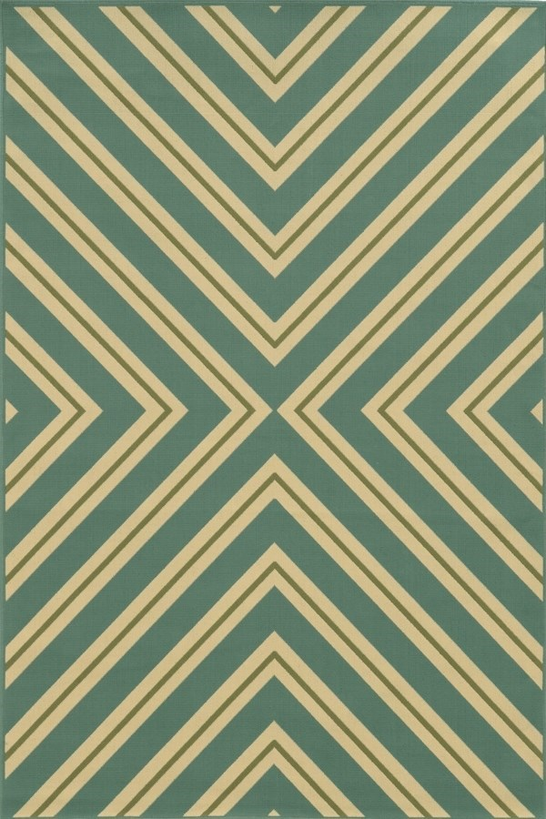 Blue, Green (A) Contemporary / Modern Area Rug