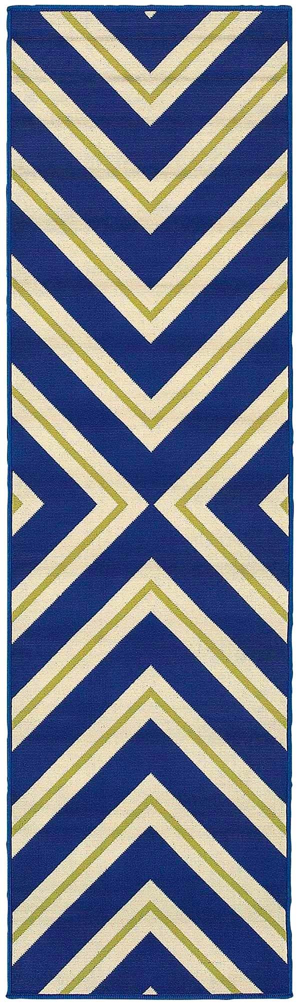 Navy, Green (L) Contemporary / Modern Area Rug