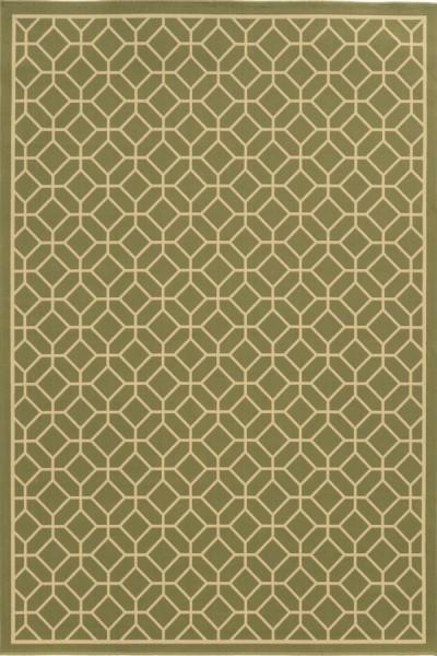 Green, Ivory (B) Geometric Area Rug
