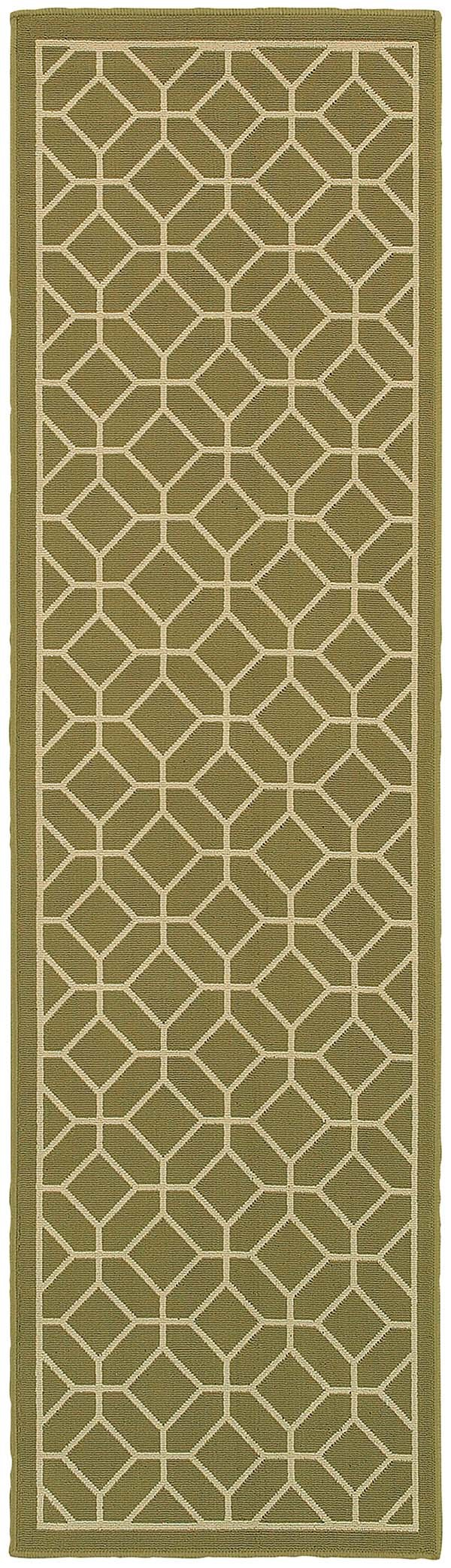 Green, Ivory (B) Moroccan Area Rug