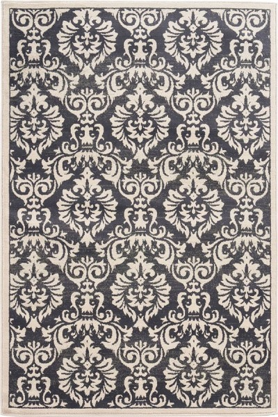 Charcoal, Ivory Traditional / Oriental Area Rug