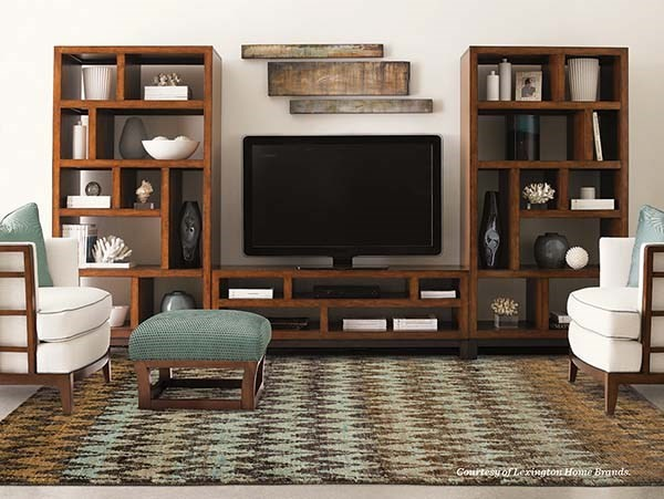Brown, Blue Contemporary / Modern Area Rug