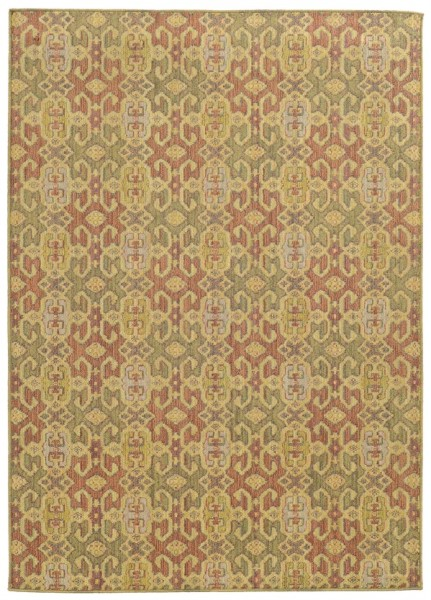 Pink, Green (W) Transitional Area Rug
