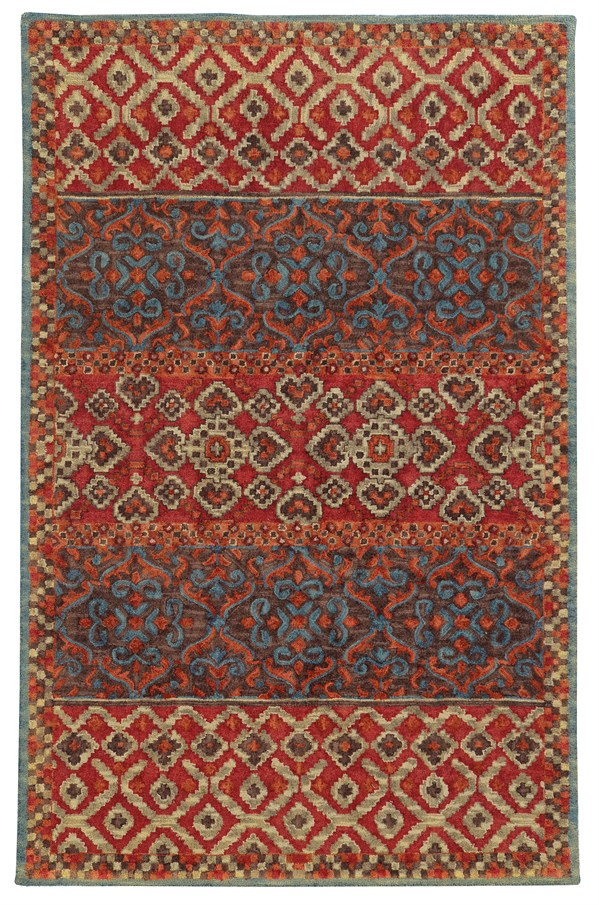 Red, Blue Transitional Area Rug