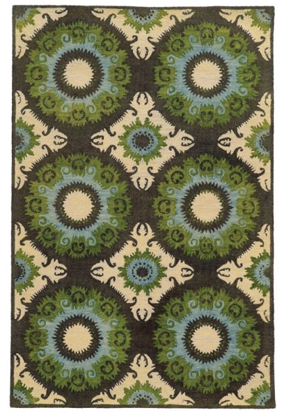 Black, Green Transitional Area Rug