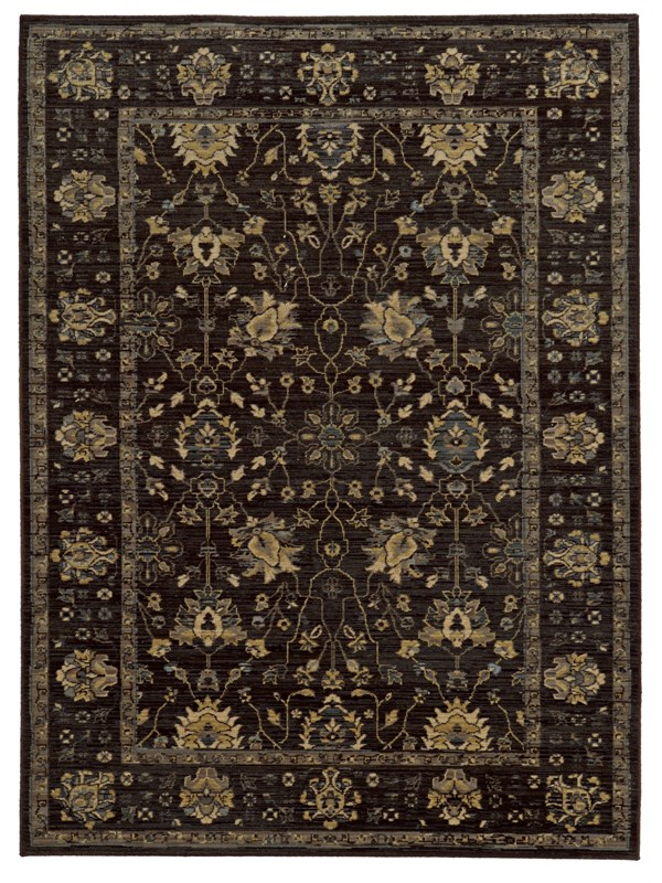 Charcoal, Blue (N) Traditional / Oriental Area Rug