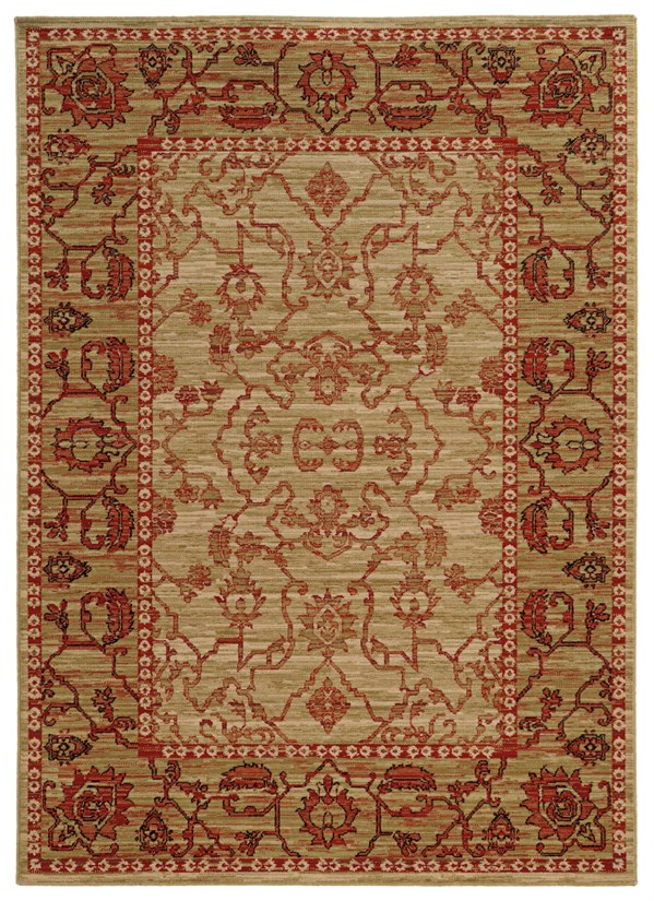 Beige, Red (J) Traditional / Oriental Area Rug