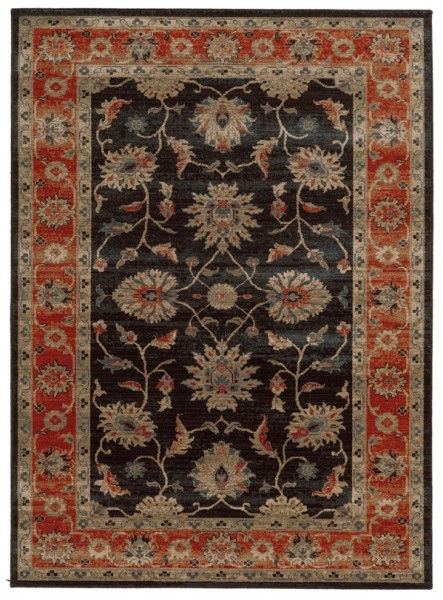 Navy, Red Traditional / Oriental Area Rug