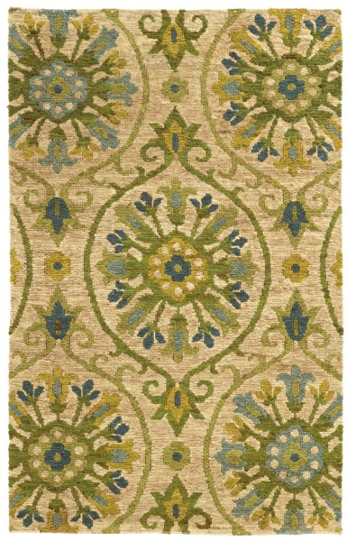 Beige, Green Transitional Area Rug