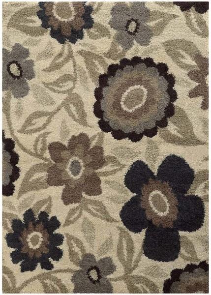 Ivory, Beige Floral / Botanical Area Rug