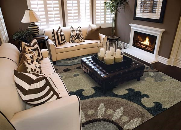 Beige, Midnight Black Contemporary / Modern Area Rug