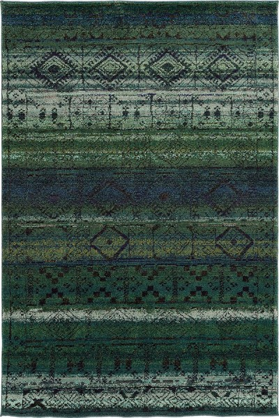 Green, Blue Moroccan Area Rug