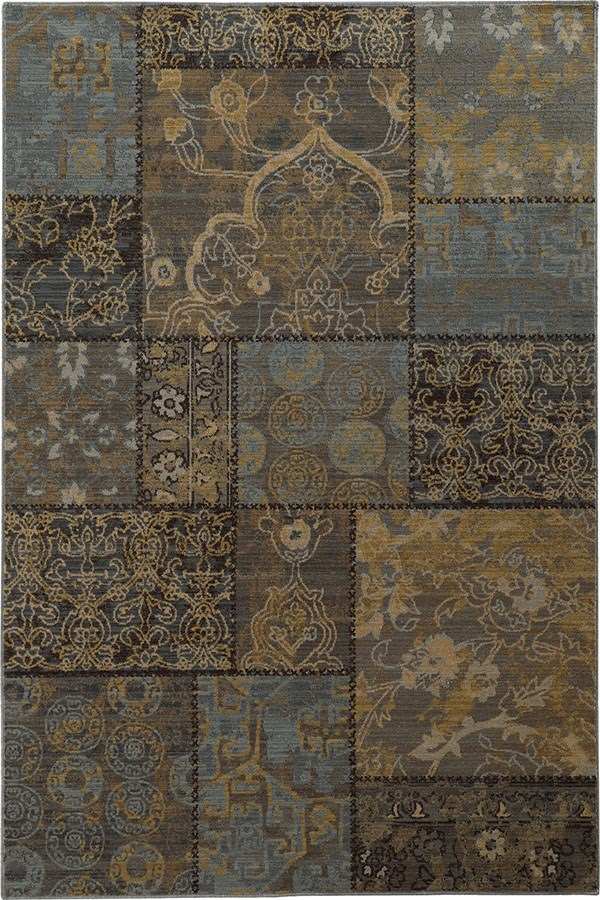 Charcoal Grey, Blue Transitional Area Rug