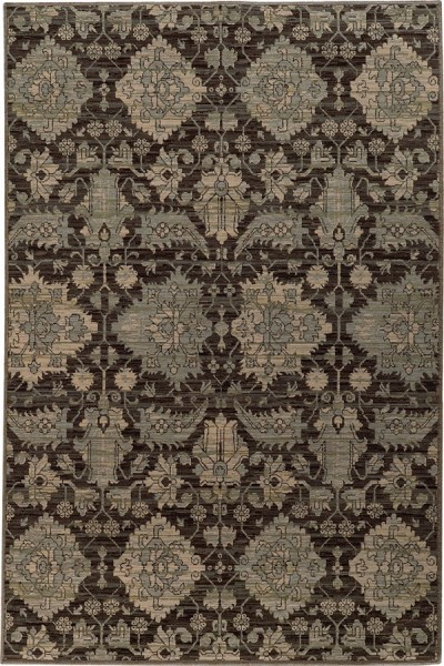 Charcoal Grey, Blue Traditional / Oriental Area Rug
