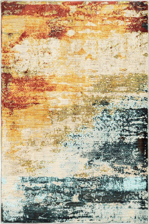 Blue, Red Abstract Area Rug