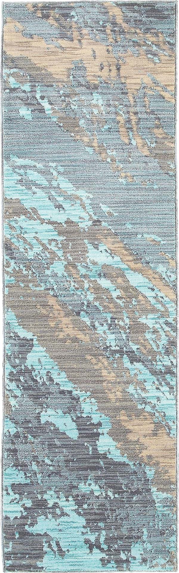 Blue, Grey (A) Abstract Area Rug