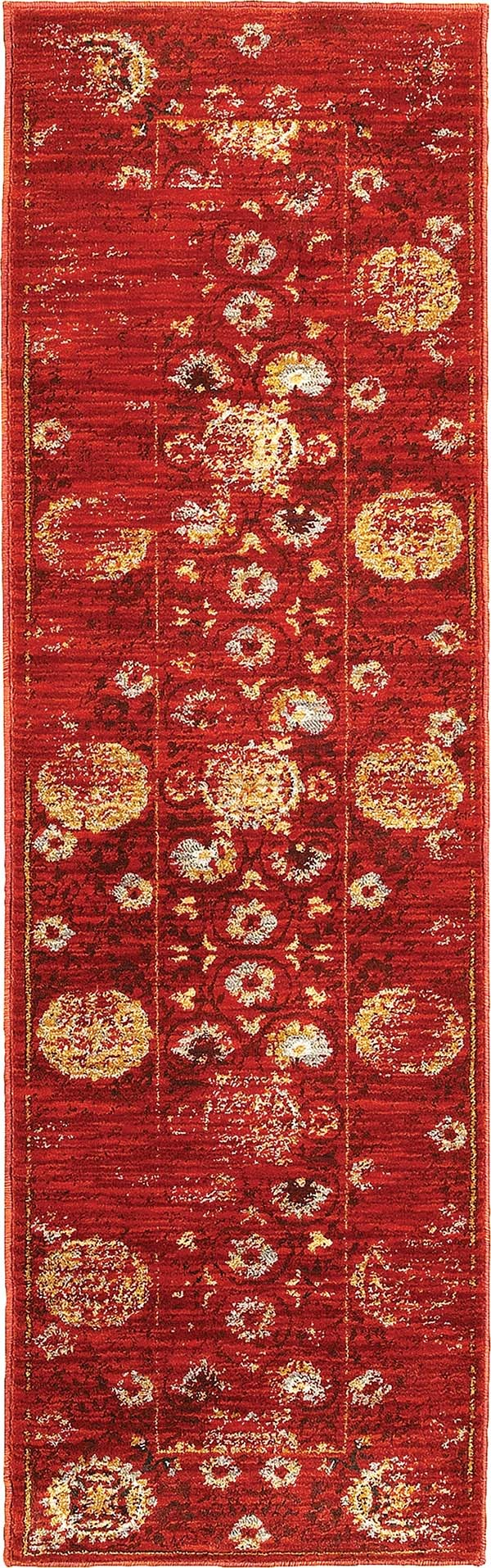 Red, Gold Traditional / Oriental Area Rug
