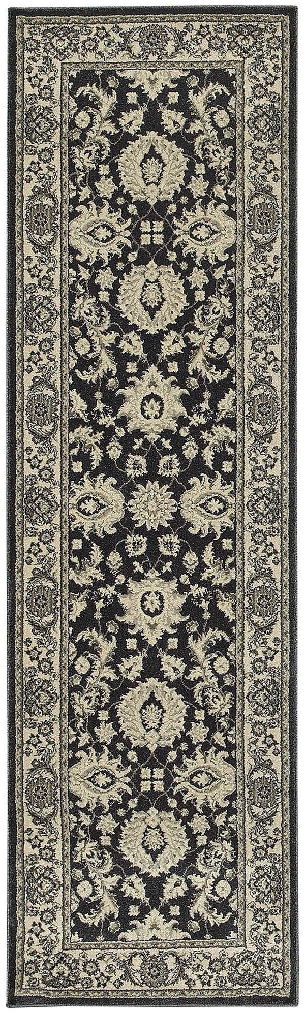 Charcoal, Ivory (H) Traditional / Oriental Area Rug
