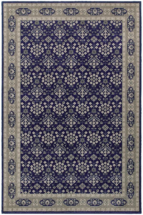 Navy, Grey (B) Traditional / Oriental Area Rug