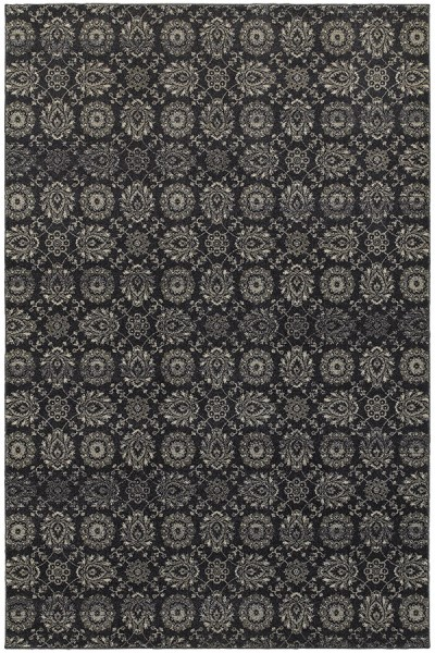 Navy, Grey (H) Traditional / Oriental Area Rug