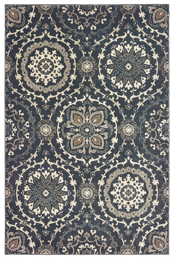 Navy, Ivory (E) Moroccan Area Rug