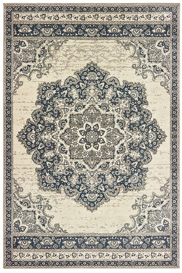 Ivory, Navy (I) Traditional / Oriental Area Rug