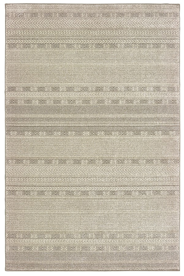 Ivory, Brown (H3) Striped Area Rug